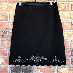 Ann Taylor Black scalloped skirt- lined